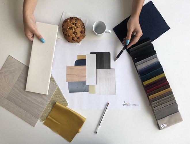 échantillons de matériaux décoration et planche d'inspiration